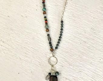 Asymmetrical Beaded Necklace, Boho Necklace, Bohemian Jewelry, Gemstone Necklace, Beaded Necklaces for Women, Rustic Jewelry, Beaded Jewelry