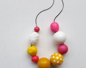 princess bubblegum necklace - original version - vintage remixed beads - polka dot, pink, yellow, white
