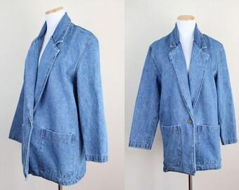 Denim Blazer Jacket + Vintage 90s Medium Wash Denim Jacket + Long Denim Jacket + One Button Blazer + Faded Distressed Denim Jacket +
