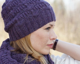 Hand knit women winter set cowl and hat wool READY TO SHIP