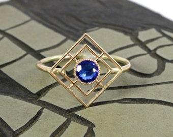 Art Deco Filigree Sapphire Ring, Antique 10k Yellow Gold & Synthetic Sapphire, September Birthstone, Repurposed Titanic Era Elements