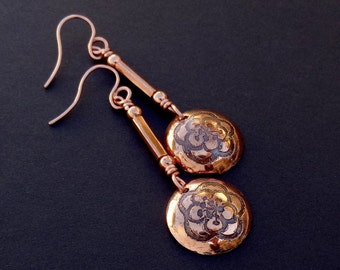 Blossoms Etched Copper Dome Dangle Earrings
