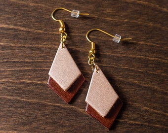 """Leather Earrings - Brown and Pearl Diamond (1 1/8"""" x 3/4""""), for her, birthday, layered, lightweight, medium brown, mothers day"""