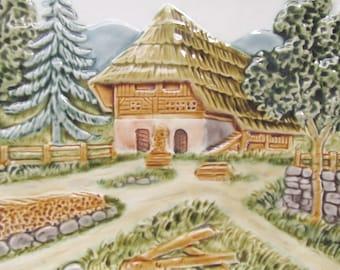 German Majolica Pottery Plate Pastoral Chalet Scene CICO