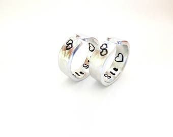 Big Sis Little Sis Set of Rings - Sisters Gift, Sisters Rings, Sisters Ring Set, Gift for Sisters, Hand Stamped, A Pair of TWO, Customizable