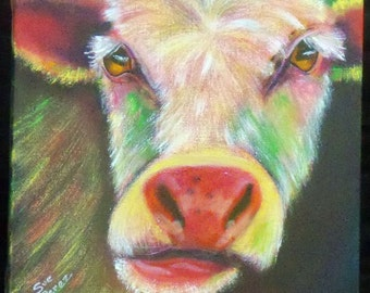 original art acrylic painting 12x12 wall decor cow chewing cud colorful whimsey