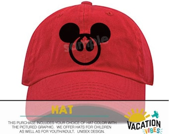 Mickey star wars Disney Hat Toddler Boy or Girl - Kids Disneyland Hat rebel starwars - Disney Mickey Baseball Cap - rebel alliance - rebels