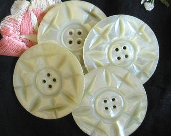 Large, Carved Mother of Pearl Shell Buttons / Set of Four 1-1/2 Inch Decorative Opalescent Buttons / Vintage Buttons / Antique / Collectible
