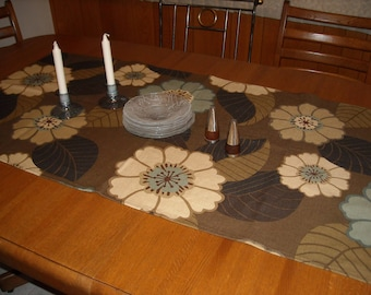 "Bold Modern Floral Runner in Rich Earth Tones 26"" x 54"" Rectangle"