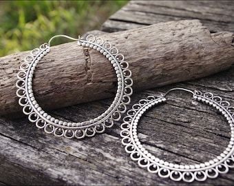 Earrings silver. Tribal jewelry. Boho hoop earrings.