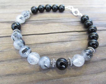 Mens Tourmalinated Quartz and Black Onyx Bracelet in Sterling Silver with Silver Bali Beads