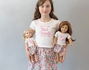 Matching Girl and Doll BFF Clothes. Girl and Doll Matching Best Friend Outfits. 18in  Doll. 15in Doll. 14.5in  Wellie Wisher. BFF Shirts