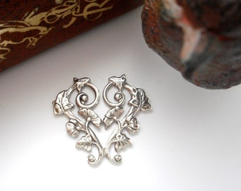 ANTIQUE SILVER (2 Pieces) Morning Glory Flower Heart Connector Stampings - Jewelry Findings (CB-3035) x