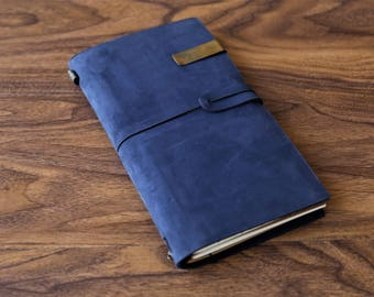 Personalized Dark Blue Midori travelers notebook /Leather Journal /Leather Note Book/Passport Notebook