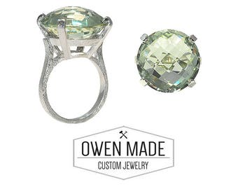 Sterling Silver Ring with Green Quartz