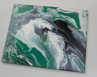 Original Acrylic Pour Painting, Abstract Painting, Acrylic Painting on Canvas, Green, White, Black, Silver