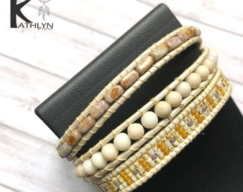 Wrap bracelet triple beige and gold