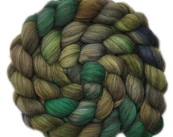 Hand painted roving - Yak / Merino wool combed top spinning fiber - 4.1 ounces - Whispering Forest 1