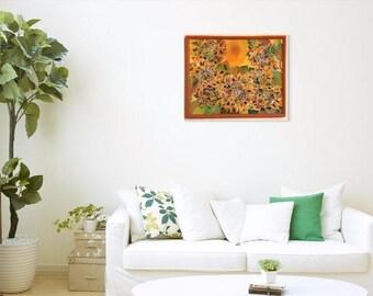 """Silk Painting """"Sunflowers"""". Hand painted. Batik technique. Unique"""