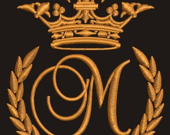 """Crown, laurel wreath and the monogram letter """"M"""" - Machine embroidery design,   design tested."""