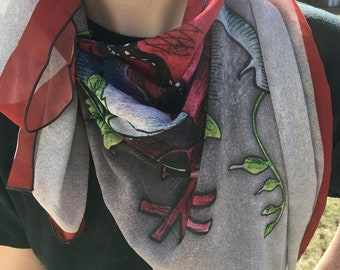 Open Hearted anatomical heart and floral chiffon scarf
