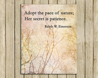 wall art printable quote Adopt The Pace Of Nature Emerson printable instant download 8 x 10 print home decor natural colors
