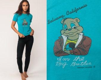 Big Brother Shirt Solvang California T Shirt 80s Graphic Tshirt Teddy Bear Vintage Hipster 1980s Retro Tee Shirt Turquoise Blue Small