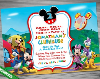 Items Similar To Mickey Mouse Inspired Invitation And Favor Tags