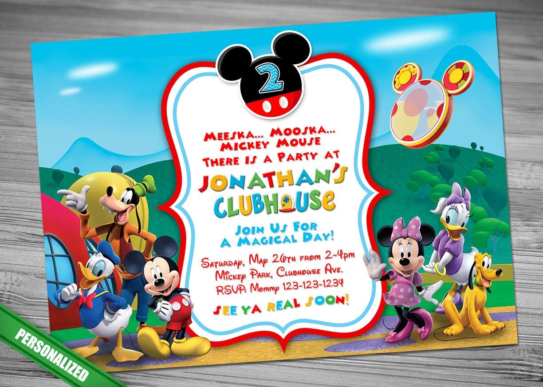 Mickey Mouse ClubHouse Invitation Mickey Invitation Mickey