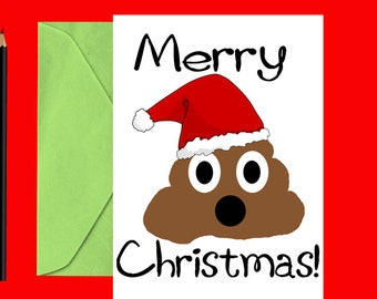 Funny Christmas card - Poop Christmas card - Funny holiday card - Christmas cards - Holiday cards - Printable Christmas card