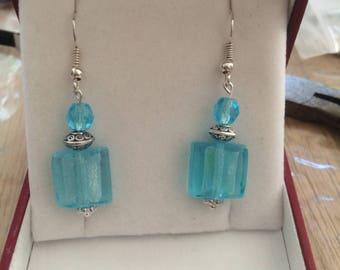 Flat square shape Murano glass bead dangle earrings