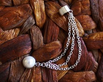 Roxanne Bohemian Earring Cuff, Bridal Ear Cuff, Ear Climber, Ear Crawler, Bohemian Jewelry Gift, Pearl Earring Cuff, Festival Jewelry
