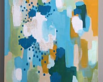 painting, original, original painting, acrylic, canvas, blue, abstract, contemporary, modern