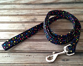 Dog Leash, Black Polka Dot Dog Leash, Fabric Dog Leash