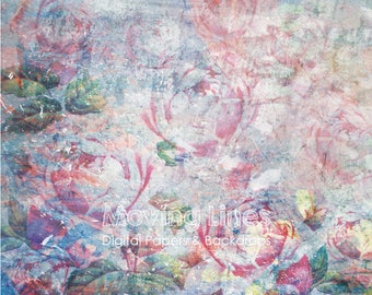 Digital Rose Background, Flowers, Weathered Photography Backdrop, Grunge Floral Wallpaper, Digital Photo Back Drop