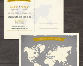 Destination wedding invitation Map Style Bilingual Save the Date Card World map Grey Yellow international couple invitation DEPOSIT PAYMENT