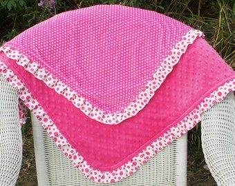 Baby Girl Minky Blanket - Hot Pink Mini Dot Minky - Cuddle Dot Minky - Double-Sided Minky Blanket