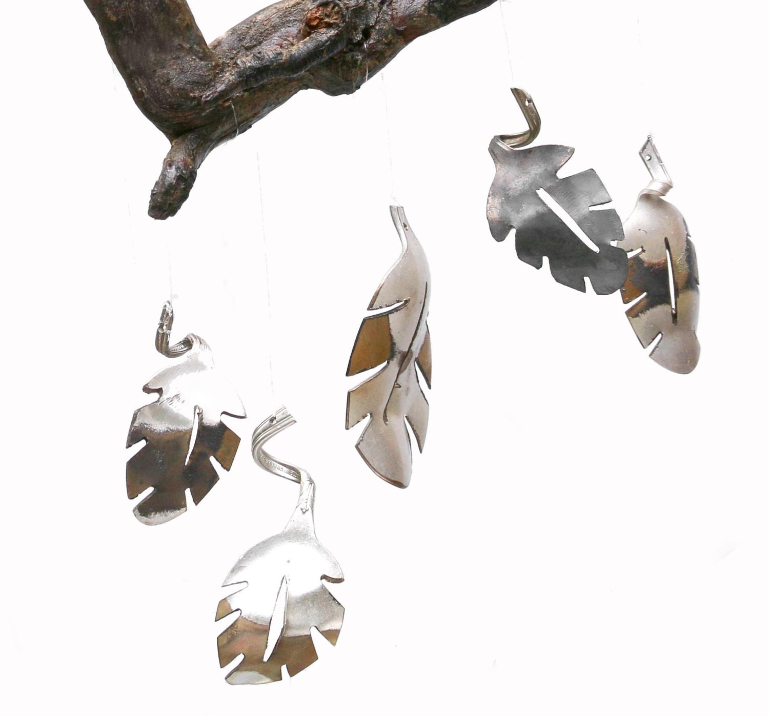 Handmade Silverware Wind Chime, Leaf Wall Art, Gold Metal Wall Art, Gold  Decor, Leaf Home Decor, Colorful Leaf Art, Metal Leaf Wall Decor