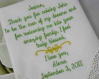 Embroidered Wedding Handkerchief - Personalized wedding handkerchief engagement gift, rustic wedding gift, Custom wedding Gift for Bride