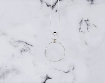 DEMI Statement Silver Necklace - Circle Necklace - Long Silver Necklace - Big Circle Pendant - Hoop Silver Necklace - Double Circle Pendant