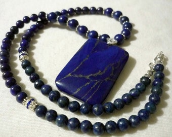 Unique - handmade necklace - beautiful lapis lazuli Center. Pearl lapis lazuli -.925 clasp