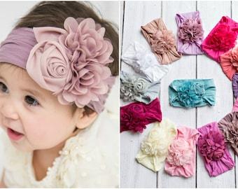 Baby headband, Floral nylon headbands, baby girl headbands, white flower nylon headband, head wraps baby toddler girls, baby headwraps, pink