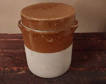 Vintage French Confit Earthenware and Glazed Pot / Country French Kitchen Storage / Stoneware Crock / French Pottery / 1940s