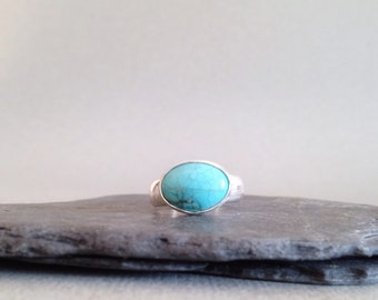Turquoise Ring - Large Stone Ring - Sterling Silver and Turquoise Ring