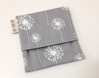 Purse pouch, small waterproof pouch to fit one pad folded. Dandelion on grey.