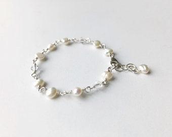Girls White Pearl Bracelet