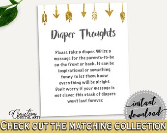 Diaper Thoughts Baby Shower Diaper Thoughts Gold Arrows Baby Shower Diaper Thoughts Baby Shower Gold Arrows Diaper Thoughts Gold White I60OO