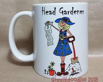 Headgardener mug, lady headgardener, female headgardener, gardener mug