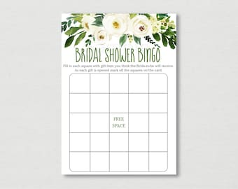 Green & White Floral Bridal Shower Bingo / Floral Bridal Shower / Greenery Bridal Shower / Printable INSTANT DOWNLOAD B130