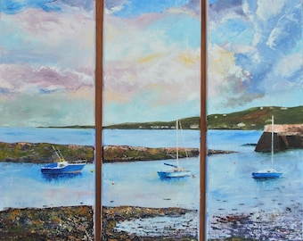"Original Oil painting on canvas. ""Groomsport"" Unframed triptych painting. Each section is 20cm x 60cm"